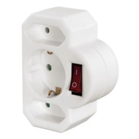 Hama 3-Way Multi-Plug 2 Euro/1 socket with earth white switch