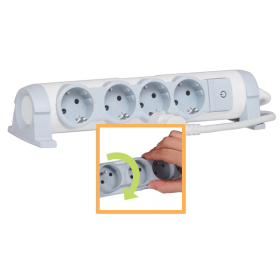 Legrand 694626 Multi-outlet extension for comfort - 4x2P+E orientable - 1.5 m cord