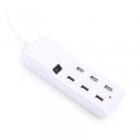 OMEGA OL6USB15W 6 USB SLOTS CHARGER WITH SWITCH - WHITE [42094]