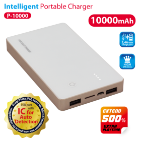 VANSON P-10000 POWER BANK 3.7V. 10000MAH WITH LED FUNCTION-DUAL USB OUTPUT WHITE