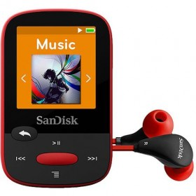 SanDisk SDMX24-004G-G46R  4GB internal memory and microSD slot (up to 16GB) MP3 PLAYER , Red