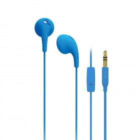 iLuv BBGUMTALKS Bubble Gum Talk Colorful Stereo Earphones with Mic and Remote, Blue