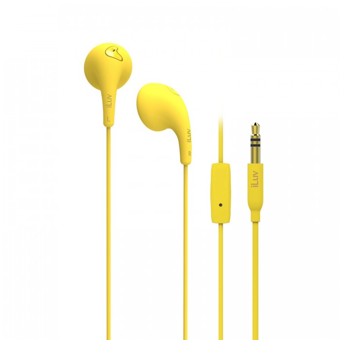 Yellow earphones with microphone - in-ear earphones with microphone