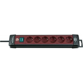 Brennenstuhl 1951760100 Premium-Line extension socket 6-way black/bordeaux 3m H05VV-F 3G1,5