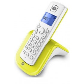 Motorola T201 Cordless Phone, Handsfree talking handset, White/Limon