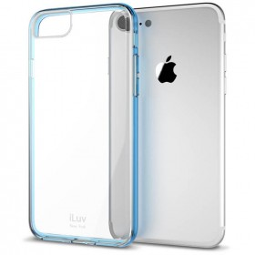 iLuv AI7PVYNEBL Vyneer Durable Transparent Hardshell Case With Soft Frame for iPhone 7 Plus - Blue / Trans