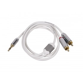 MonoPrice 9299 3ft Designed for Mobile 3.5mm Stereo Male to RCA Stereo Male (Gold Plated) - White