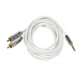 MonoPrice 9300 6ft Designed for Mobile 3.5mm Stereo Male to RCA Stereo Male (Gold Plated) - White