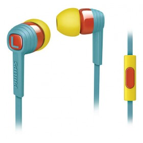 PHILIPS SHE7055BR/00 CITISCAPE IN EAR HEADPHONES WITH MIC, BLUE / YELLOW