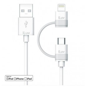 iLuv ICB267WHT  2 in 1 Lightning Cable with Micro USB Adapter, 3ft (1 m) , White