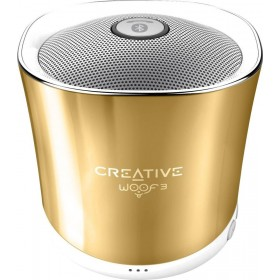 Creative Woof 3 Full-featured Personal Micro-sized Bluetooth® MP3/FLAC Speaker with Built-In Microphone, (Autumn Gold) Gold, 51MF8230AA003