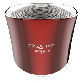 Creative Woof 3 Full-featured Personal Micro-sized Bluetooth® MP3/FLAC Speaker with Built-In Microphone, (Summer Rouge) Red, 51MF8230AA001
