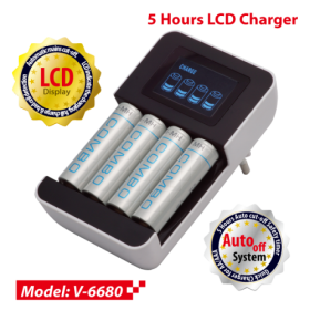 Vanson V-6680 5 Hours LCD Charger with LCD, Negative Delta V Cut-off Detection, for 1 to 4pcs AA/AAA Batteries