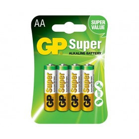 GP 15A Super AlKaline Batteries (AA) - 4 Pack