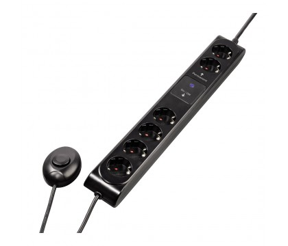 buy from radioshack online in egypt hama 00108840 6 way power strip with foot switch black for. Black Bedroom Furniture Sets. Home Design Ideas