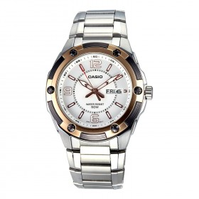MTP-1327D-7A+K Men's MTP1327D-7AV Silver Stainless-Steel Quartz Watch with White Dial