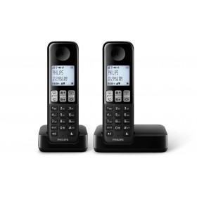 Philips D2302B/90 Cordless phone 1.8 inch display/ white backlight Handset speakerphone 2 handsets