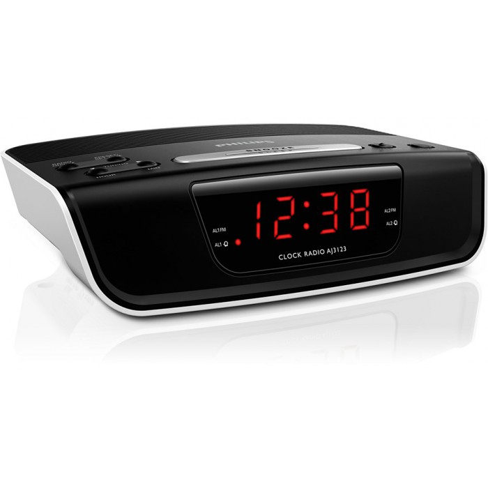 philips digital tuning clock radio aj3123 fm digital tuning dual alarm time alarm backup. Black Bedroom Furniture Sets. Home Design Ideas