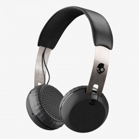 Skullcandy S5GBW-J539 Grind Bluetooth Wireless On-Ear Headphones with Built-In Mic and Remote, Black/Chrome