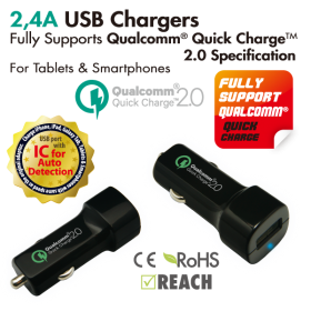 Vanson CAS-17USBI Intelligent USB Car Charger 2,4A for Tablet & Smartphone *Quick charger 2.0