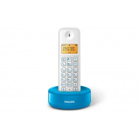 Philips D1301WA/63 CORDLESS PHONE 1.6 inch DISPLAY/ AMBER BACKLIGHT, Blue, White
