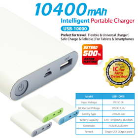 Vanson USB-10000 Power Bank 10,400mAh with IC for Auto Detection, Lithium-ion, 5V/2,1A Output for Tablet & Smartphone