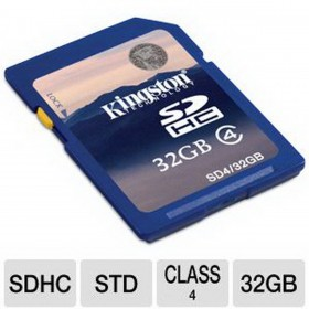 كارت ميمورى كينجستون (Kingston 32GB SDHC CLASS 4 FLASH CARD SD4/32GB)