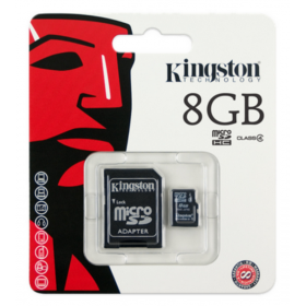 كينجستون (Kingston MICRO SD8GB (SDHC) CLASS 4 CARD+ADAPTER SDC4/8GB)  كارت ميمورى مساحة 8 جيجا بايت + أدابتر