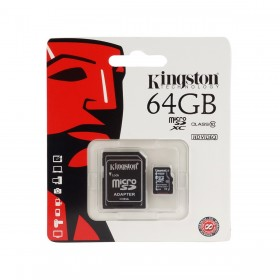 كارت ميمورى كينجستون (Kingston 64GB MICRO SDCX CLASS 10 FLASH CARD)