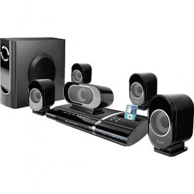 أى لوف مسرح منزلى مزود بقاعدة للأى بود(ILuv i1277 5.1-Channel Slim Desktop DVD&IPOD Player with Speaker System)