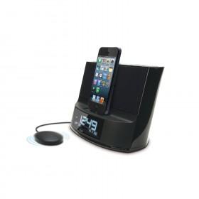 iLuv Dual Alarm Clock Speaker with Bed Shaker and Lightning Dock UL+VDE Plug for iPhone 5